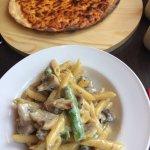 Potato skins, penne Montagna and Margarita pizza