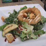 Ceaser salad with onion ring
