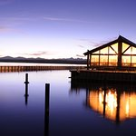 The Lake House Restaurant sits on the shore of Yellowstone Lake