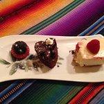 Mini trio of desserts....yummy.