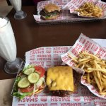 Original Smashburger, smash fries and a vanilla shake (made with Hagen Daz ice cream)