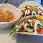 Blackened Baja Fish Tacos and Bang Bang Shrimp Tacos. Great choices for lunch!