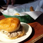 Chopped pork sandwich and hush puppies