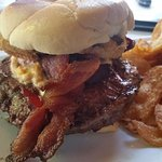 Southern Comfort Burger, pimento cheese, jalapeno bacon and fried green tomato.