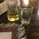 A glass of vodka. Be careful of large portions!