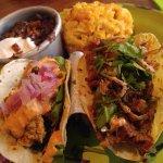 Oyster & Beef Brisket Tacos w/black beans & mac-n-cheese.
