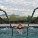 Outside hot tub and sauna