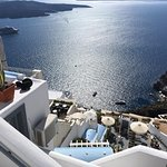 The view from the top stairs above Fanari Restaurant, Fira, Santorini