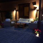 Evening lighting in courtyard