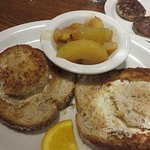 Eggs in a Basket with turkey sausage and fried apples