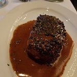 10 ounce filet, twice baked potato, black and red fish, and lobster bisque