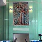 Beautiful green glass deco piece inside Colony Hotel