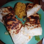 Shrimp & lobster quesadilla and rice with beans