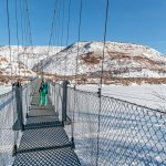 My wife crosses the bridge in winter.