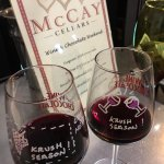 Our Wine and Chocolate Weekend glasses with the McCay tasting menu.