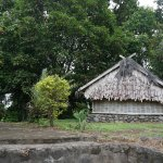 The cemetery with bamboo roof. location next to the mosque.