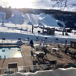 Swim pool with jacuzzi & steps to main Ski Lift
