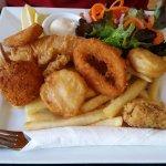 """""""Catch""""- fish, prawn cutlets, salt & pepper squid, calamari, scallops & chips."""