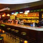 The long bar counter of Molly Roffeys bar