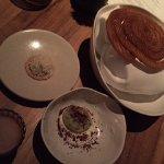 dessert - churros , hot chocolate , avocado ice cream , cheese biscuit