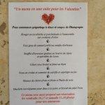 Valentines evening menu