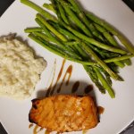 Maple Bourbon glazed Salmon with Mushroom Parma Risotto