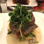 Steak on horseradish and celeriac mash - Valentine's Day dinner