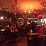 Lovely decorated interior on Valentines night