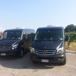 A couple of our vans waiting for clients during a wine tour in Tuscany