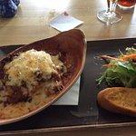 Lasagne and garlic bread