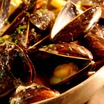 Mussels, cooked in white wine and cream sauce