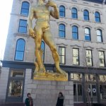 "Gilded ""David"" in front of 21C Museum Hotel"
