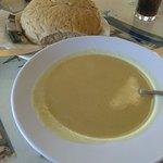 Parsnip soup + bap the size of a cat!