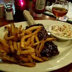 1/2 rack of ribs with fries & coleslaw (sorry it's blurry)