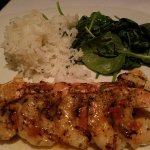 Sea scallops & shrimp (scallops are under the shrimp), sauted spinach and jasmine rice