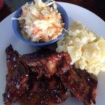 My Hog Heaven BBQ ribs, potato salad, & cole slaw