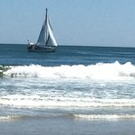 Brigantine Beach...and during summer months, Borgata offers free shuttle service, though beach t