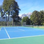 Our tennis court, and a very special backdrop!