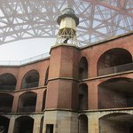 Fort Point Light from ground level inside the fort.