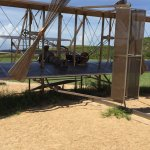 replica of the Wright brothers on their plane