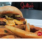 Burger w/Southern pimento cheese, grilled jalapenos, Nueske's Applewood Bacon & hand-cut fries.