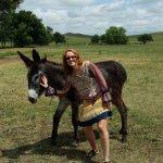 Wild burro, photo bombed by my wife.