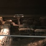 The remains of Katros house on display in the Burnt House museum.