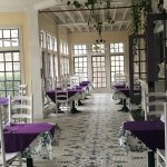 The dining area is beautiful and so romantic!