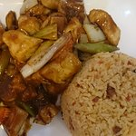Lunch special - Szechuan chicken and fried rice