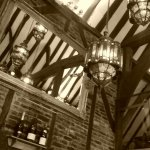 The exposed Tudor beams, as seen from the inside of the Restaurant