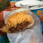 Shredded beef and cheese Arepas