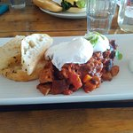 bean & Chorizo with poached eggs