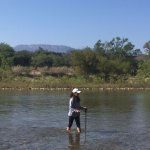 Hiking across the river at Cerro Viejo