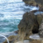 Sunrise - cliffs below the pool-poor focus